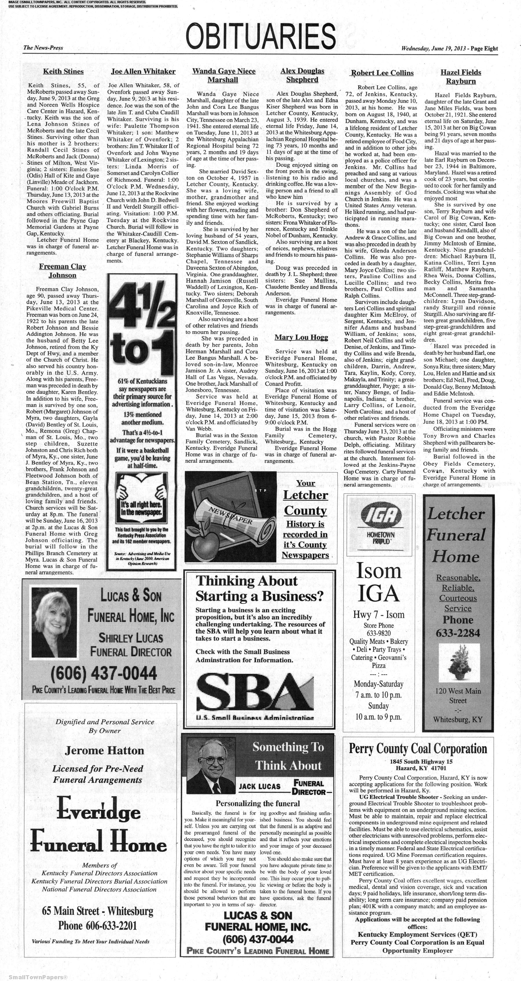 Letcher County Community News-Press June 19, 2013: Page 8